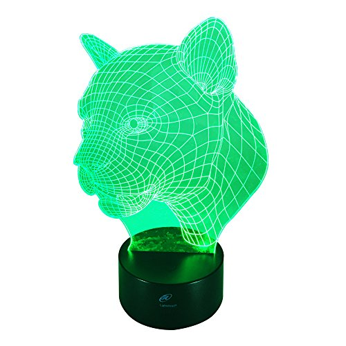 Lightahead Amazing 3D Optical Illusion Touch Night Light LED Desk Lamp Art Piece with 7 changing Colors, USB Powered for Valentine Decoration & Gifts ()