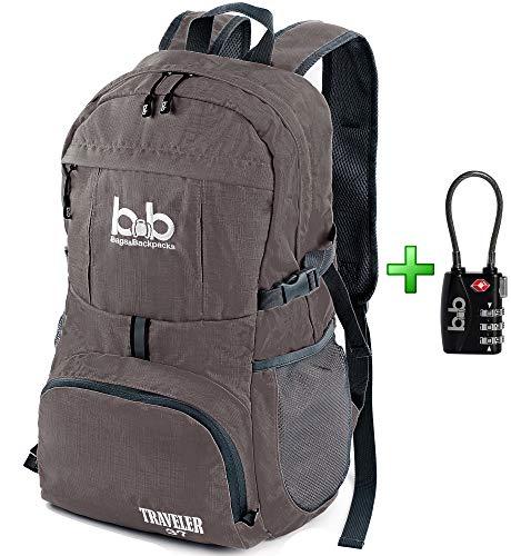 Lightweight Durable Foldable Travel Hiking Backpack, Daypack for Men, Women, Kids + TSA Lock