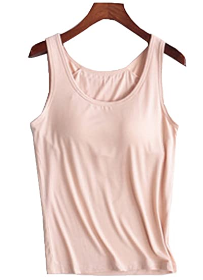 4391e646735aa Womens Modal Padded Built in Bra Straps Camisole Active Yoga Tank Tops  Light Khaki US 0