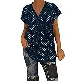2019 New Womens Spot Printing Blouse, Casual V-Neck Short Sleeve Dot-Intarsia Printing Shirts Soild Summers Top Vest Blouse (Navy, M)