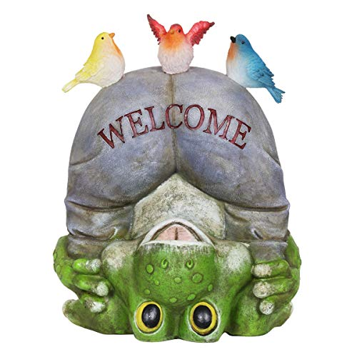 Exhart Solar Welcome Frog and Birds Garden Statue - Hand-Painted Resin Statue of an Upside-Down Frog with Welcome Sign Pants and Birds on Top - Frog Decor with Solar LED Lights 8.66L x 6.69W x 10.24H
