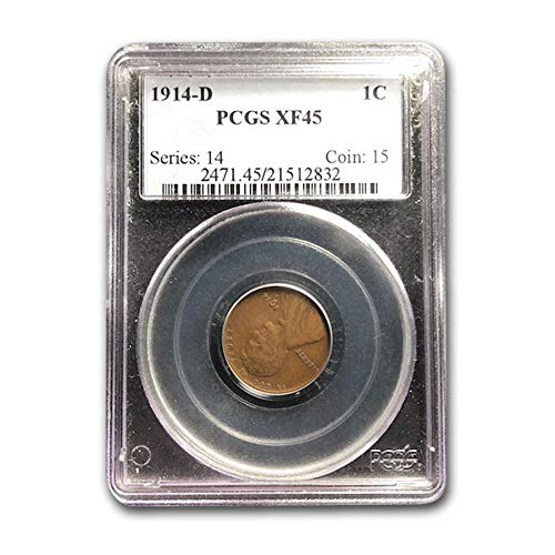 P  Lincoln Wheat  Penny cent Extra Fine 1914 XF
