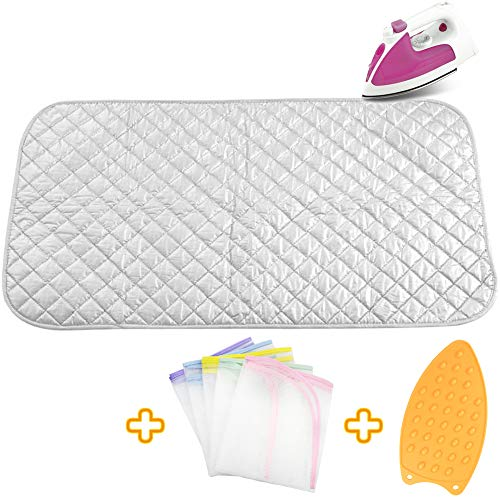 Upgraded Thick Ironing Mat,Travel Ironing Blanket Ironing Pad,Portable Double-Side Using,Heat Resistant Pad Cover for Washer,Dryer,Table Top,Countertop,Ironing Board for Small Space (21.6 x 47.2 inch) (Best Washer And Dryer For Small Space)