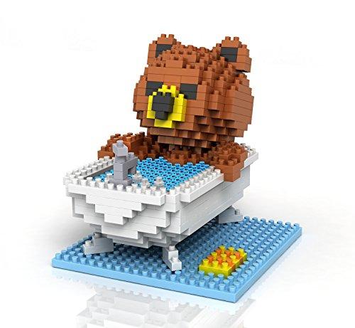 Rikuzo Super Cute Brown Bear - Bathing - Nano Blocks Micro Diamond DIY Educational - Diamond Professional Blocks