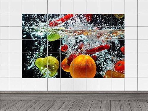 Adesivo piastrelle sticker frutta acqua arancione pera rinfresco