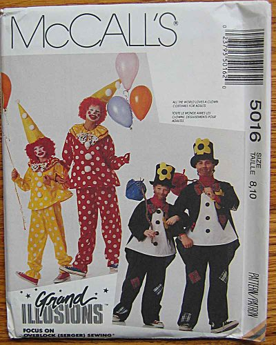 McCall's 5016 Sewing Pattern ~ Grand Illusions Childrens' Halloween Costumes, Clown & Hobo, Size 8, (Halloween Illusion Costumes)
