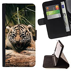 Momo Phone Case / Flip Funda de Cuero Case Cover - Lindo Fierce Tiger Cub - Samsung Galaxy S6 Edge Plus / S6 Edge+ G928