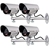 WALI Bullet Dummy Fake Surveillance Security CCTV Dome Camera Indoor Outdoor with one LED Light + Warning Security...