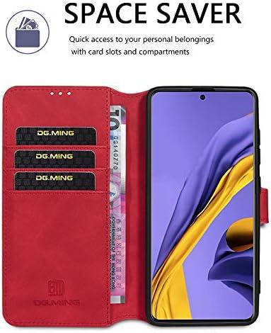 Protection Housse en Cuir PU Portefeuille Livre Housse Plus Film Protection /écran en Verre tremp/é pour Samsung Galaxy A51,Rouge GoodcAcy Etui Coque pour Samsung Galaxy A51, Languette Magn/étique