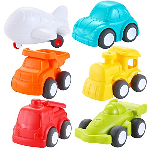 JOYIN 6 Pack Toddler Car Toys Push Go Free Wheel City Traffic Little Cars Baby Car Toys Early Educational Toys For 1-2 Years Toddlers]()