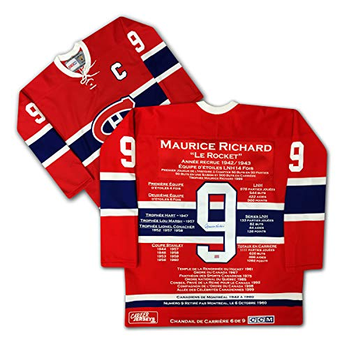 Autographed Jersey Richard - Maurice Richard Career Jersey - French Edition - Autographed, Limited Edition /9