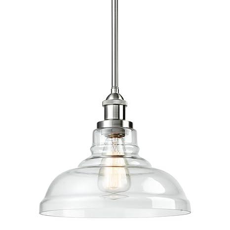 EUL Industrial Vintage Edison 1-Light Brushed Nickel Pendant Clear ...