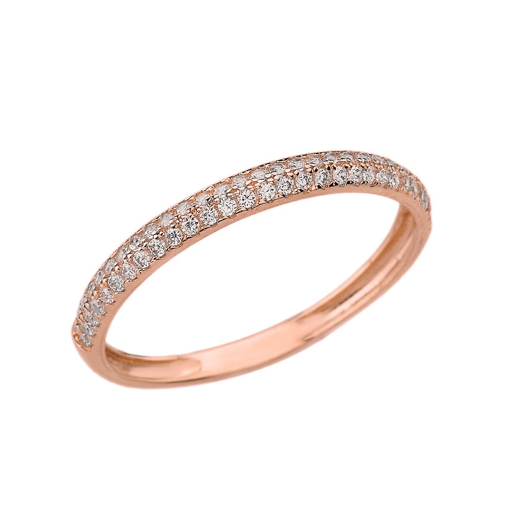 Women's 14k Rose Gold Eternity Rings Cubic Zirconia Wedding Band (Size 7)