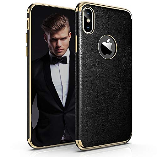 LOHASIC iPhone Xs Max Case, Luxury Premium Leather Thin Slim-Fit Soft Flexible TPU Bumper Anti-Scratch Shockproof Full Body Phone Protective Cover Cases for Apple iPhone Xs Max (2018) 6.5 inch -Black