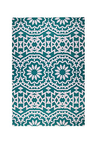 Bohemian White & Teal Floor Mat: Durable, Easy-To-Clean, Mil