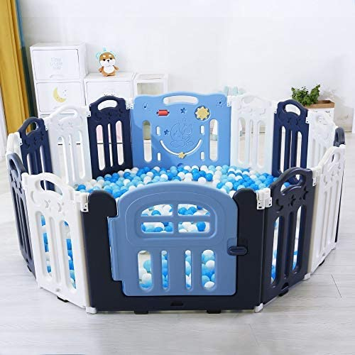 Anti-Slip Base for Baby Toddlers PlayMaty Foldable Baby Playpen Activity Center Safety Playard with Lock Door,Adjustable Shape Portable Design for Kids Fence Indoor Outdoor 12+2 panel
