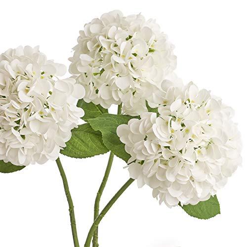 Artificial Hydrangea Silk Flowers for Wedding Bouquet, Flower Arrangements - 3 Stems Per Bundle (White)