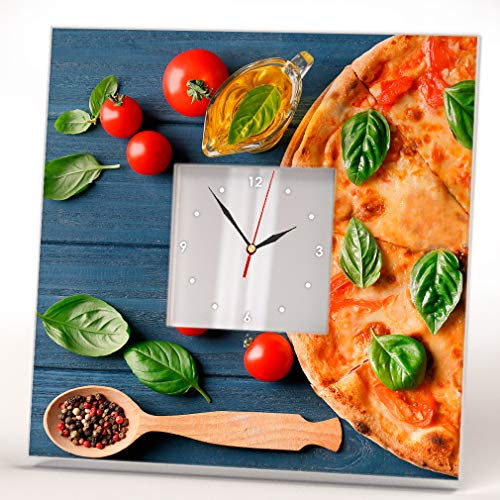 Pizza Oil Cherry Tomatoes Fresh Basil Wall Clock Framed Mirror Food Fan Art Decor Home Design -