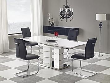 Esstisch ausziehbar modern  Esstisch Edelstahl weiß hochglanz Küchentisch Wohnzimmertisch ...