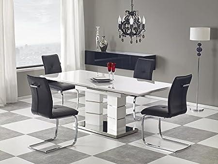 Mesa de Comedor de Acero Inoxidable Blanco Brillante – Mesa de ...