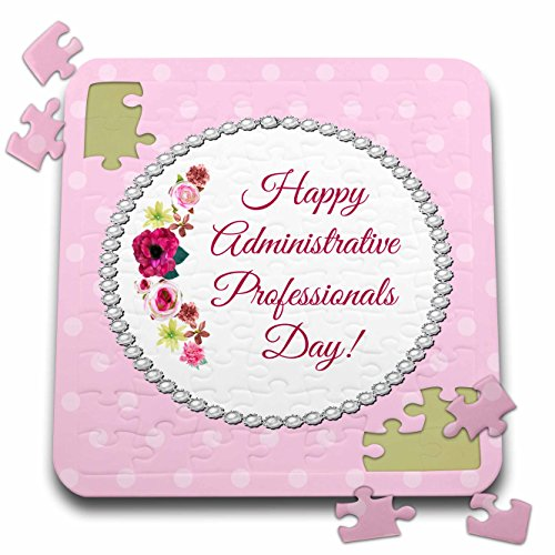 Beverly Turner Administrative Professionals Day - Roses, Pink, Red, Pearl Look Frame, Dots, Administrative Assistant - 10x10 Inch Puzzle (pzl_244094_2)