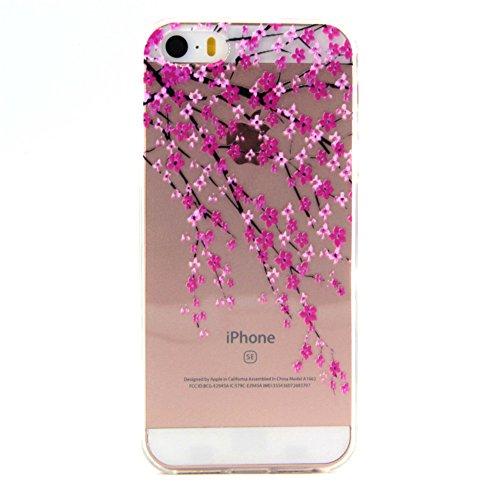 ZXLZKQ Coque pour iPhone 5 / 5S / SE EtuiUltra-mince Transparent Rose Plum Fleur Doux TPU Silicone Case Housse Coque pour Apple iPhone 5 / 5S / SE (non applicable iPhone 5C )