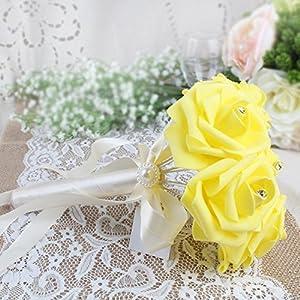 AerWo 6 Bunch of Bouquet, Yellow Foam Roses Silk Ribbon Bouquet Handmade Rhinestone Diamante Artificial Flower Bridal Bridesmaid Brooch Wedding Bouquet Decoration 3