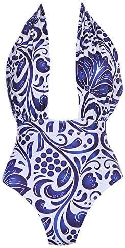 Qianli 水着女性のネックラインローカットファッションデザインでプリントパターン装飾ハイウエストワンピースセクシービキニ (色 : Blue Patterns, サイズ : XXL)