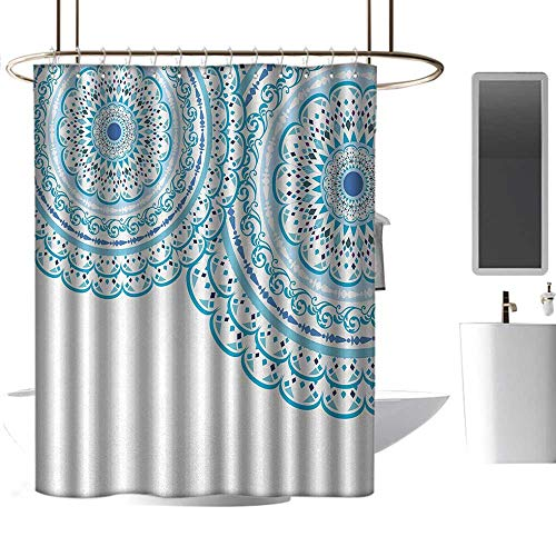 - shower curtains for bathroom african american Mandala,Wedding Invitation Card Theme Lace Mandala and Place for Text Art Print,Sky Blue Light Blue ,W48