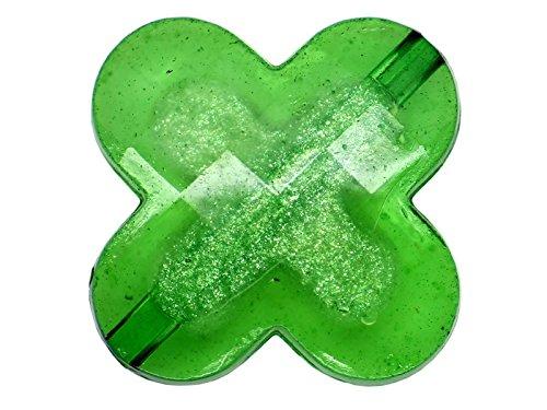 5 perles Fleur Vert 4 Pétales