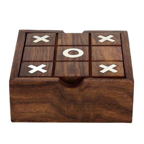 SKAVIJ 2-in-1 Wooden Tic Tac Toe and Solitair Travel Board Game Handmade Wooden Pegs and Steel Ball for Solitair ()