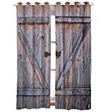 Country Barn Wood Door Decor Curtains Old Wooden Garage Door American Country Style Decorations for Bedroom Living Dining Room Kids Youth Room 2 Panels Set Art Prints Nature Window Treatment