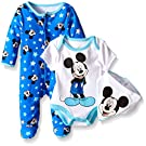 Disney Baby Mickey Mouse 3 Pc Footie, Bib, and Bodysuitset, Multi/Blue, 3/6 Months