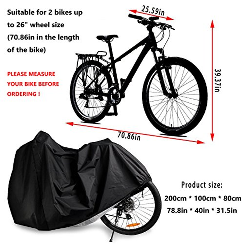Bike Cover for 2 Bikes, Beeway 190T Nylon Waterproof Bicycle Cover Anti Dust Rain UV Protection for Mountain Bike / Road Bike with Lock-holes Storage Bag by  (Image #1)