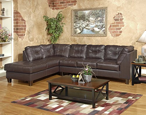 Roundhill Furniture Marinio Chocolate Faux Leather Left Chaise Sectional Sofa