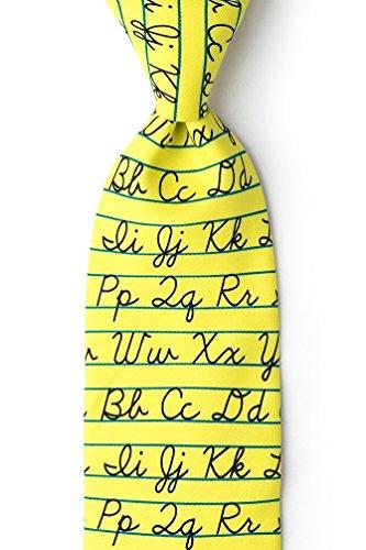 Yellow Microfiber Tie | Alphabet Necktie