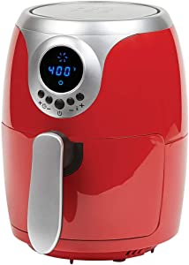 Copper Chef 2 QT Black and Copper Air Fryer - Turbo Cyclonic Airfryer With Rapid Air Technology For Less Oil-Less Cooking. Includes Recipe Book (Red)