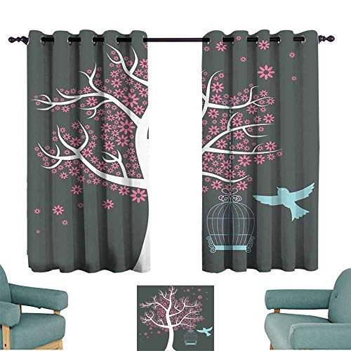 - HCCJLCKS Extra Wide Curtains Tree Tree with Seafoam Bird Cage and a Bird Flowers for Leaves Nature Freedom Privacy Protection W63 xL45 Grey Pink Pale Grey