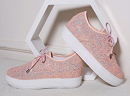 Top Shoes Sequin du Simple Toe Platform up Lace Causal Pink Women's Low Round Jiu Work Flats PdOnCCSZ
