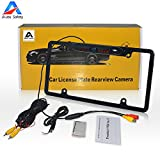 Car Rear View Backup Camera, Auto Safety Universal USA Metal Shell Car License Plate Frame Mount, Parking/Reverse Assistance, 170 Degree Wide Angle With 8 IR LED Night Vision waterproof(Black)