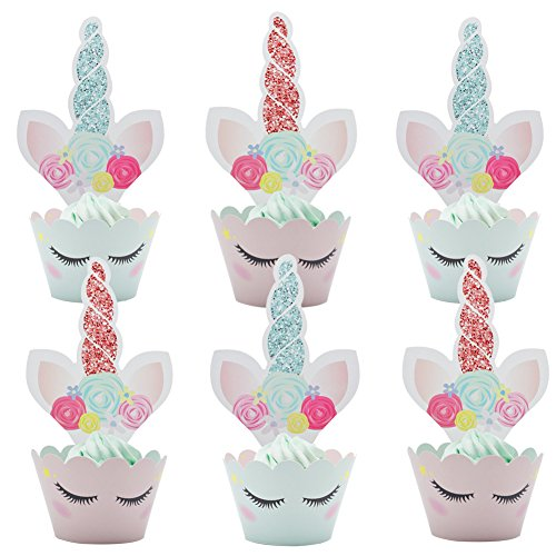 Betop House Set of 24 Pieces Unicorn Themed Party Kids Baby Shower 1st Birthday Cupcake Decorative Topper and Wrapper