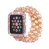 Compatible Apple Watch Band 42mm+Apple Watch Case 42mm,MeiQing Bling Crystal Diamonds Bead iWatch Band Case Protective for Apple Watch Series 3/2/1 (Pink)