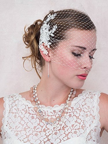 Ivory Birdcage Veil With Ivory Floral Lace Applique Wedding Bridal Veil by Deanna DiBene Millinery