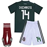 #14 Chicharito Mexico National Homer Soccer Jersey & Shorts & Socks Kids & Youth 2018 Russia World Cup Jersey Green for 13-14Y