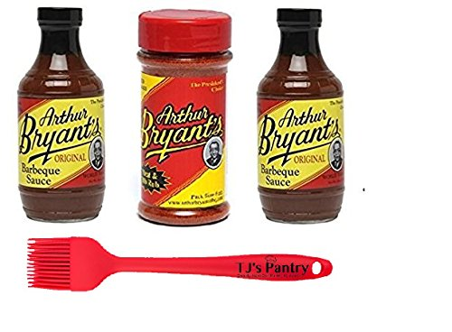 Arthur Bryants BBQ Sauce and Dry Rub Bundle - 3 Pack + Bonus TJs Pantry Silicone Basting - Sauce Kings Bbq