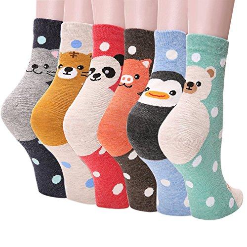 Happytree Women's Cats and Dogs Crew Socks Set (Dot Panda 6 Set)