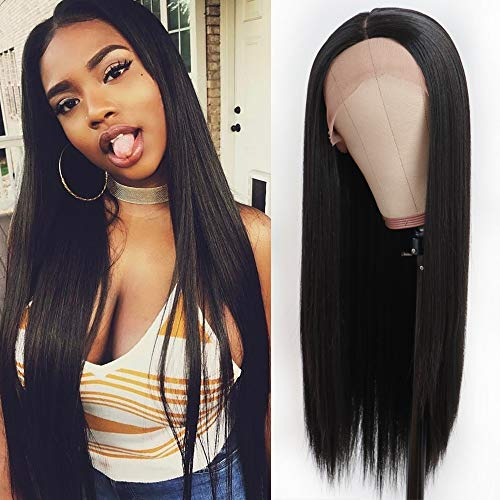 (QD-Tizer Lace Front Wigs Long Straight Synthetic Wigs For Black Women Natural Hairline Deep Part 180% Density Wigs)