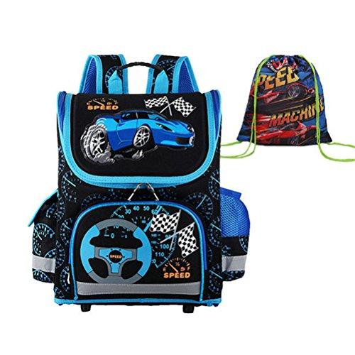 Kalakk Children Schoolbag Grade 1-3-5 Primary Boy Race Car B
