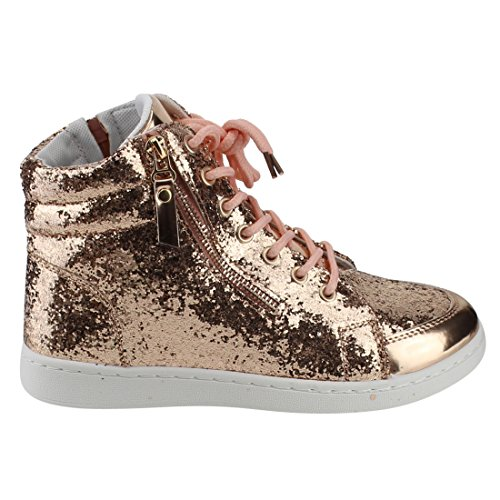 Forever Link Womens Hi Top Glitter Lace Up Ankle Booties Fitness Trainer Fashion Sneakers Rose Gold xa5O4EO1