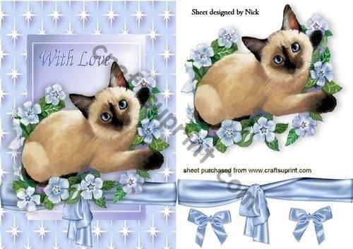 Siamese gatto con fiori e fiocchi in Star Frame by Nick Bowley Craftsuprint